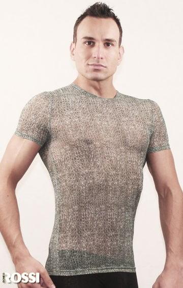 Приталенная мужская футболка серого цвета Romeo Rossi Sexy Shirts RR504 серый