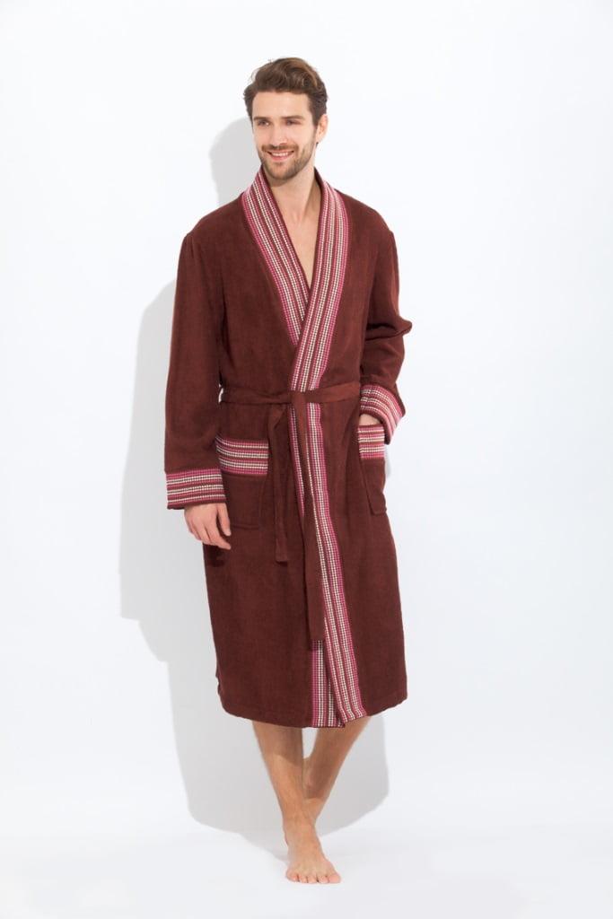 Элегантный коричневый мужской халат из бамбука со светлой декоративной отделкой PECHE MONNAIE 917 коричневый