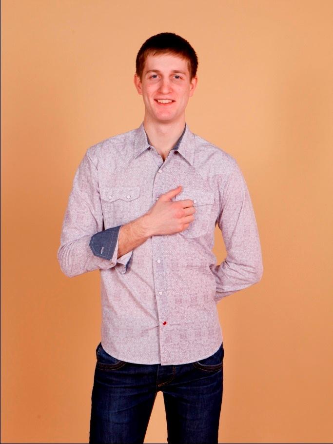 Рубашка мужская Nima Zaree белая с красным узором