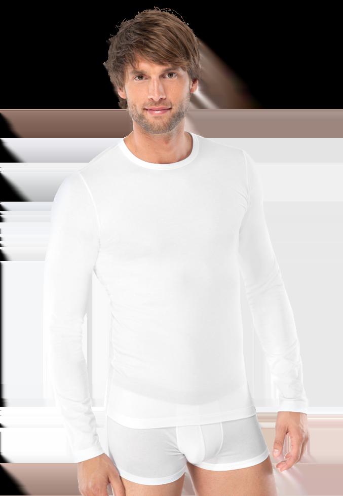 Эластичная мужская фуфайка белого цвета из хлопка SCHIESSER 205419шис Белый
