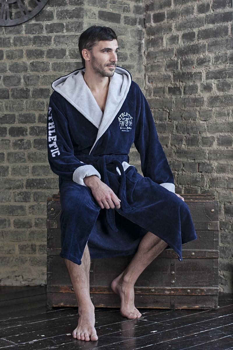 Практичный спортивный мужской халат из бамбука синего цвета с капюшоном и со стильной вышивкой на рукаве и груди Five Wien ATLETIK синий