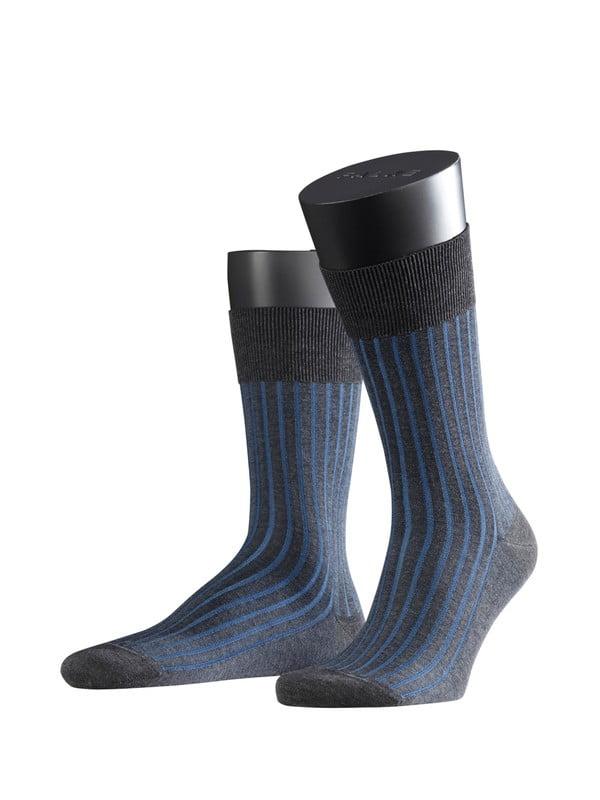 Носки из хлопка с шелковистым блеском с элементами ручной работы с ребристым узором темно-серого цвета Falke 14648 Shadow (муж.) Темный-серы