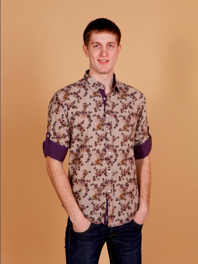 Рубашка мужская Nima Zaree кофейная с узорами