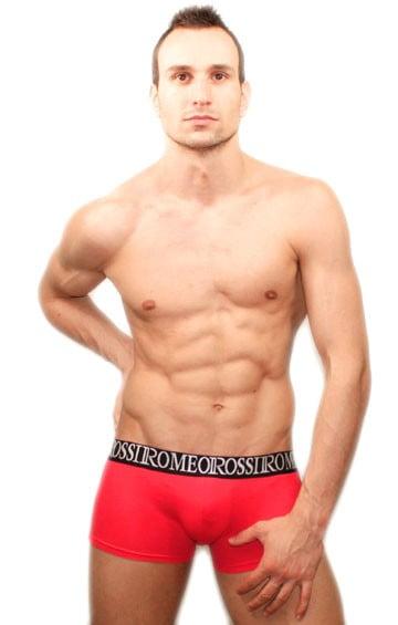 Яркие хлопковые мужские трусы хипсы красного цвета с широкой черной резинкой Romeo Rossi R5002-8