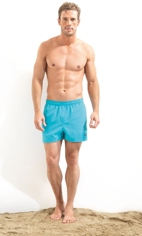 Яркие плавательные шорты для мужчин бирюзового цвета укороченные BlackSpade Beach b8001