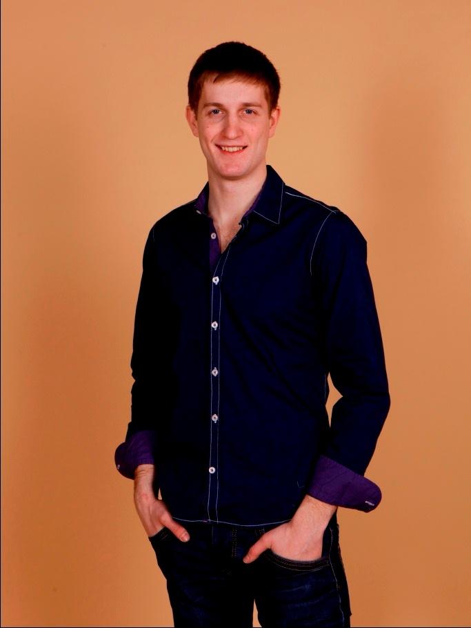 Рубашка мужская Nima Zaree синяя с фиолетовым воротником