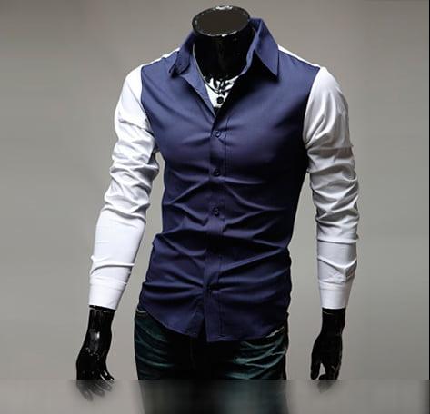 Мужская клубная рубашка сине-белая Rozen Сlen nms532s