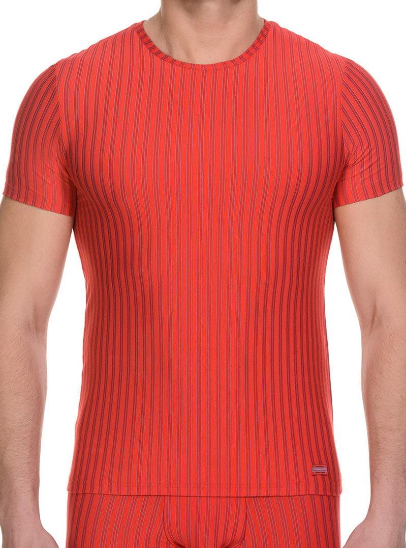 Стильная мужская футболка красного цвета в полоску bruno banani 22041325 Cage