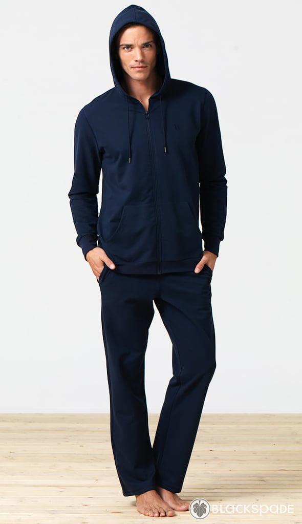 Теплая и удобная мужская толстовка на молнии синего цвета Blackspade Home b7305 Navy