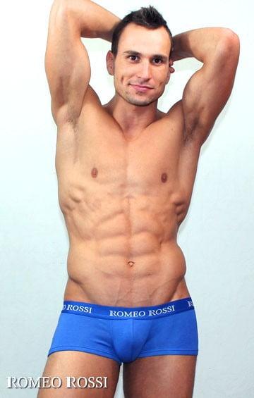 Синие мужские трусы хипсы из хлопка с широким пояском на резинке Romeo Rossi Heaps R5001-9