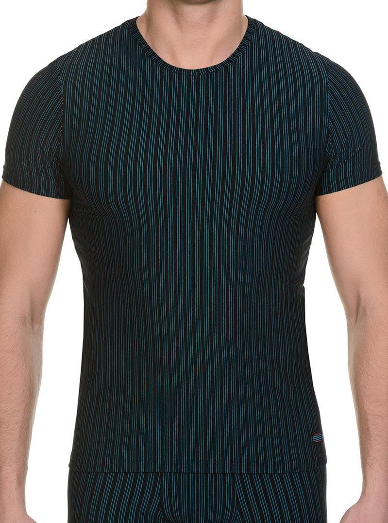 Стильная мужская футболка черного цвета в полоску bruno banani 22041325 Cage