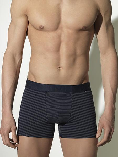 Стильные мужские трусы из хлопка в полоску серого цвета HOM Louis 01094cZU