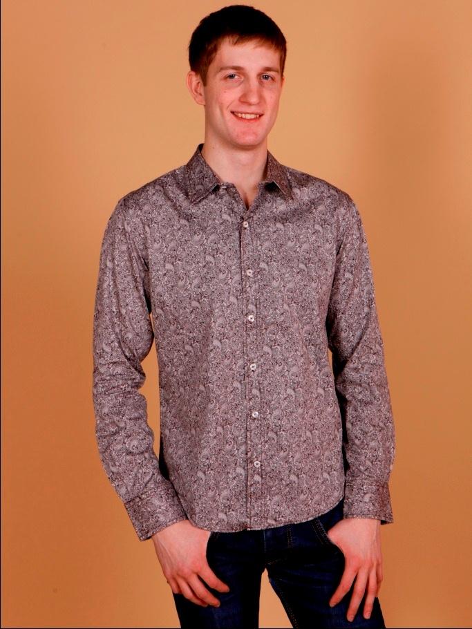 Рубашка мужская Nima Zaree серая с разноцветным узором