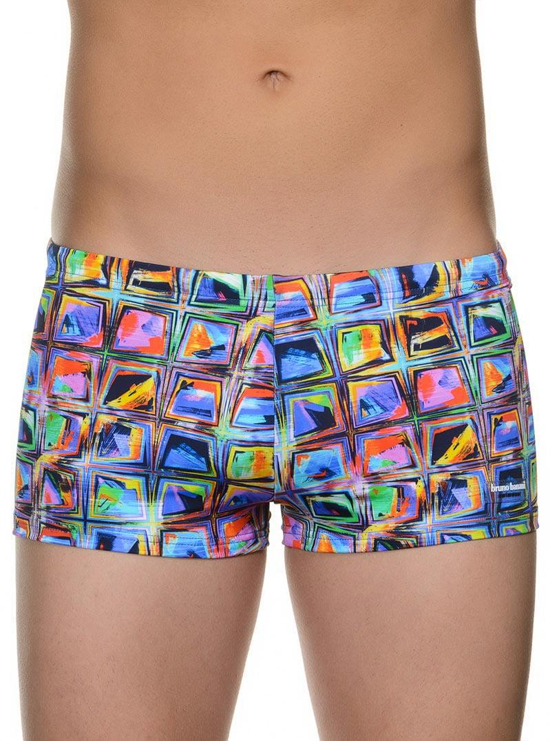 Модные яркие мужские плавки- хипсы с летним принтом bruno banani 22021368 Happy