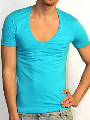 Мужская бирюзовая футболка с широким воротником Doreanse Macho Style 2820c47