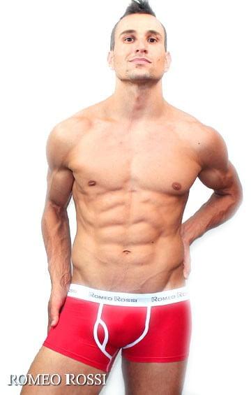 Яркие мужские трусы хипсы с гульфиком красного цвета Romeo Rossi Heaps R365-8
