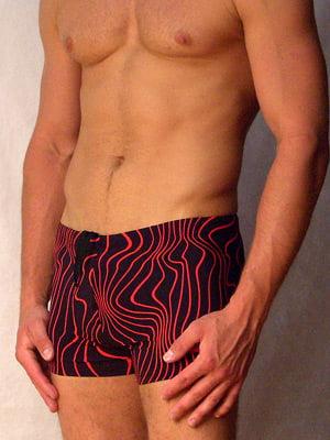 Стильные пляжные плавки с красными волнами HOM Bondi 07155cR9