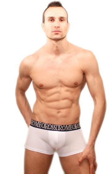 Белые стильные хлопковые мужские трусы хипсы с широкой черной резинкой Romeo Rossi R5002-1