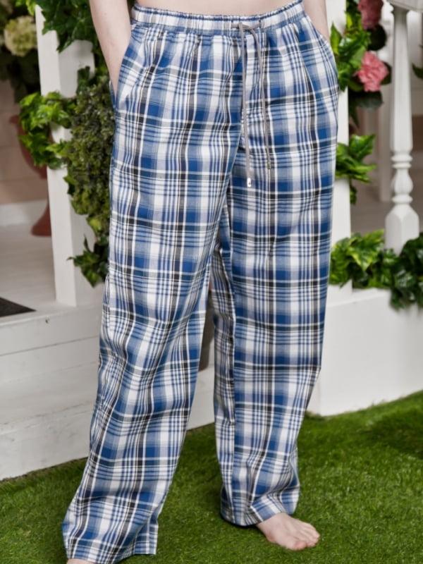 9d4e87a5b45f Домашние мужские брюки из хлопковой ткани в синюю клетку на резинке с  дополнительной тесьмой Basil 17230504 ...