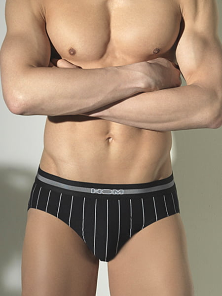 Эластичные мужские трусы в полоску черного цвета HOM Elegant 33c8923-0004