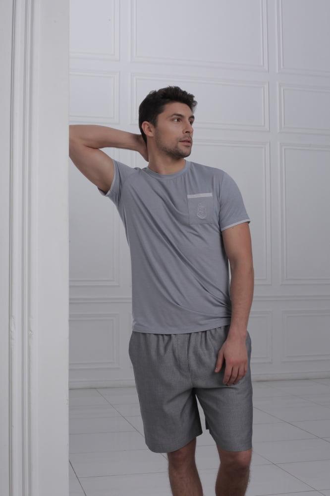 Легкая мужская пижама из хлопка серого цвета Laete 51446-2