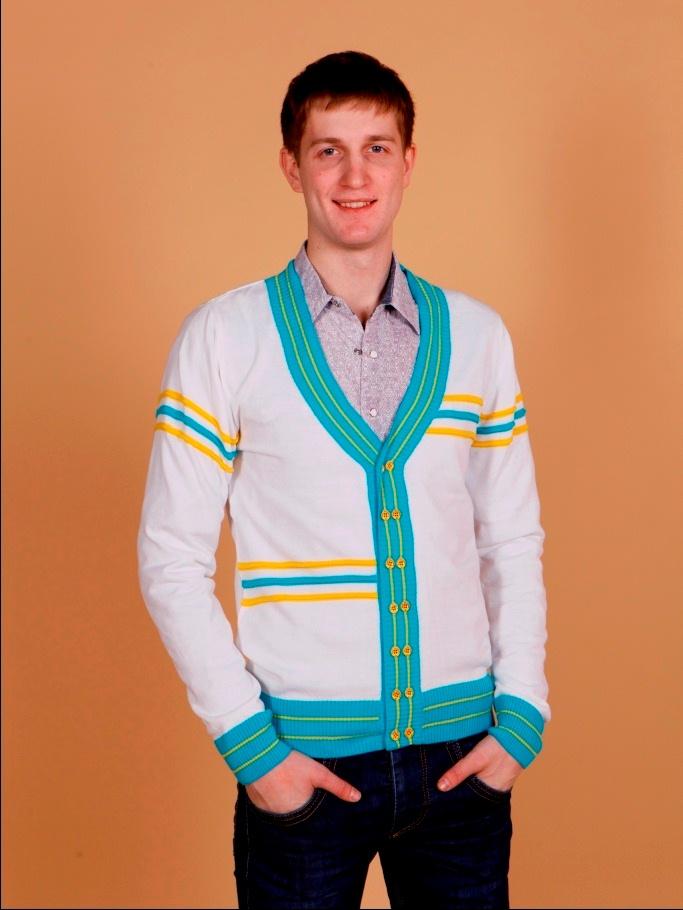 Кардиган мужской diffFerrand белый с синими и желтыми полосками
