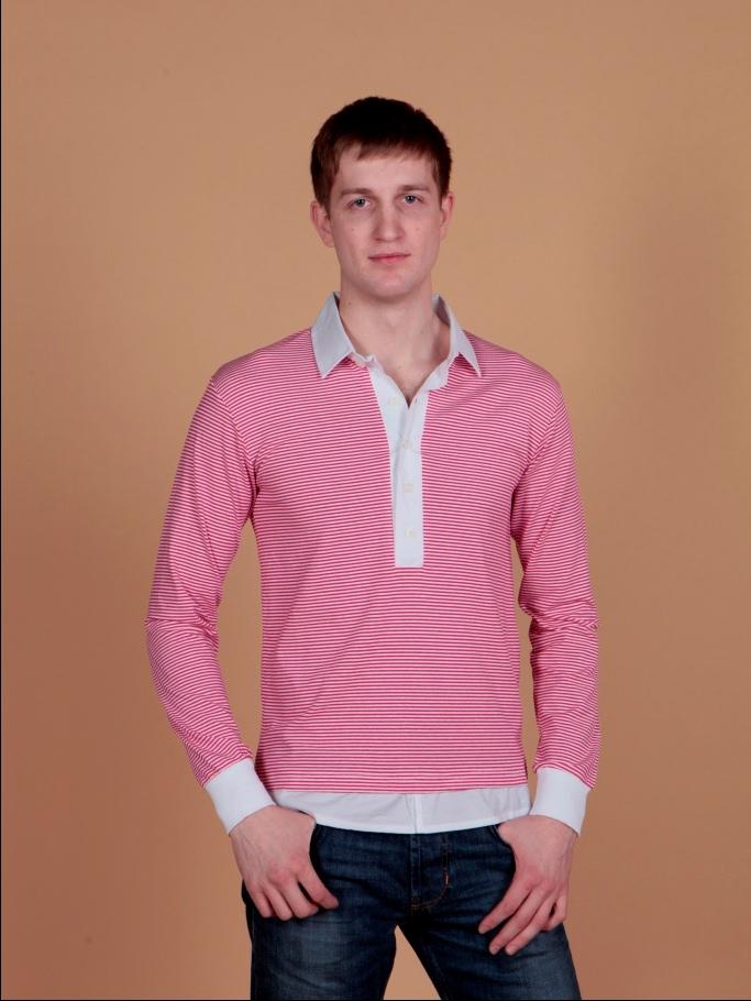 Рубашка мужская поло BGS белая с красной полоской