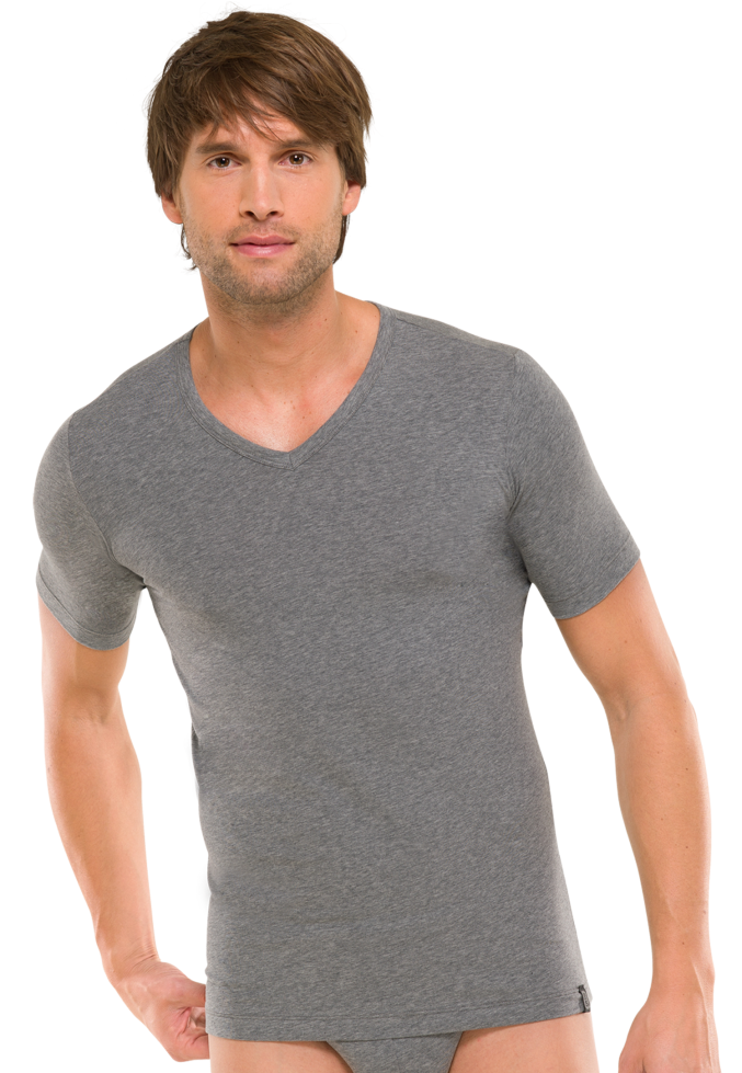 Модная мужская футболка из хлопка серого цвета SCHIESSER 205429шис Серый