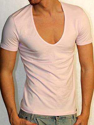 Мужская розовая футболка с широким воротником Doreanse Macho Style 2820c66