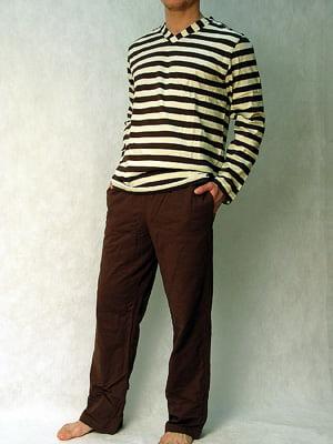 Мужская пижама в шоколадно-сливочных тонах HOM Boat 04256cT5