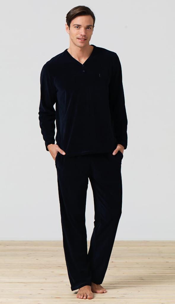 Мужской костюм из ворсистого флиса синего цвета Blackspade Home b7299 Navy