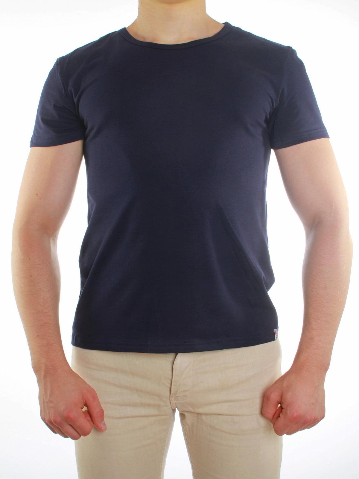 d332f5b6ea3d Однотонная синяя мужская футболка с круглым вырезом и короткими рукавами  Griff SIU01321 Blu Scuro