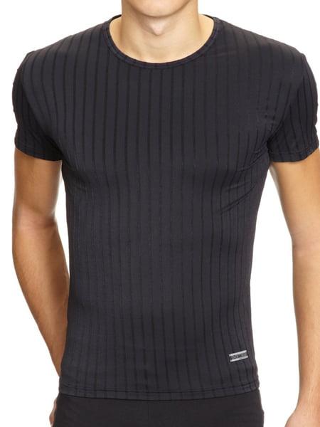 Черная тонкая и очень мягкая мужская футболка с шелковистыми блестящими тонкими вертикальными полосками HOM For Man 03259cK9