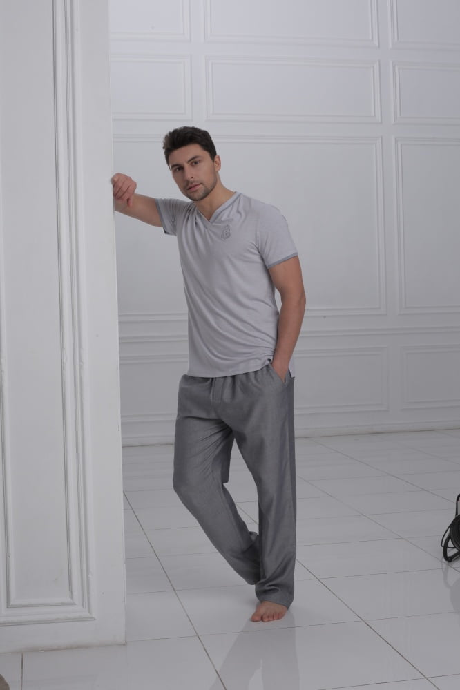 Серая мужская пижама из хлопка Laete 51447-2 купить в Москве по ... 66e209841a6