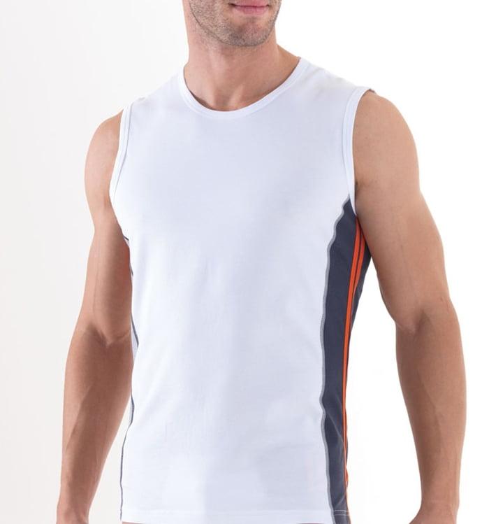 Спортивная мужская майка белого цвета из контрастными вставками BlackSpade SPORT b9437 белый