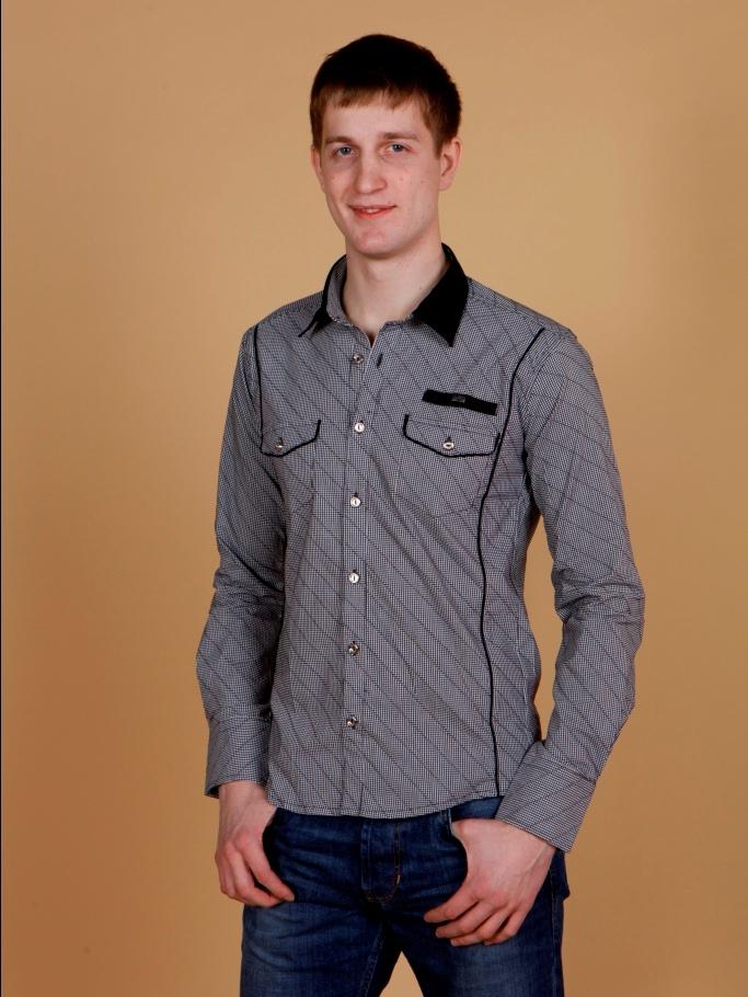Рубашка мужская Pazzo в клеточку с черным воротником