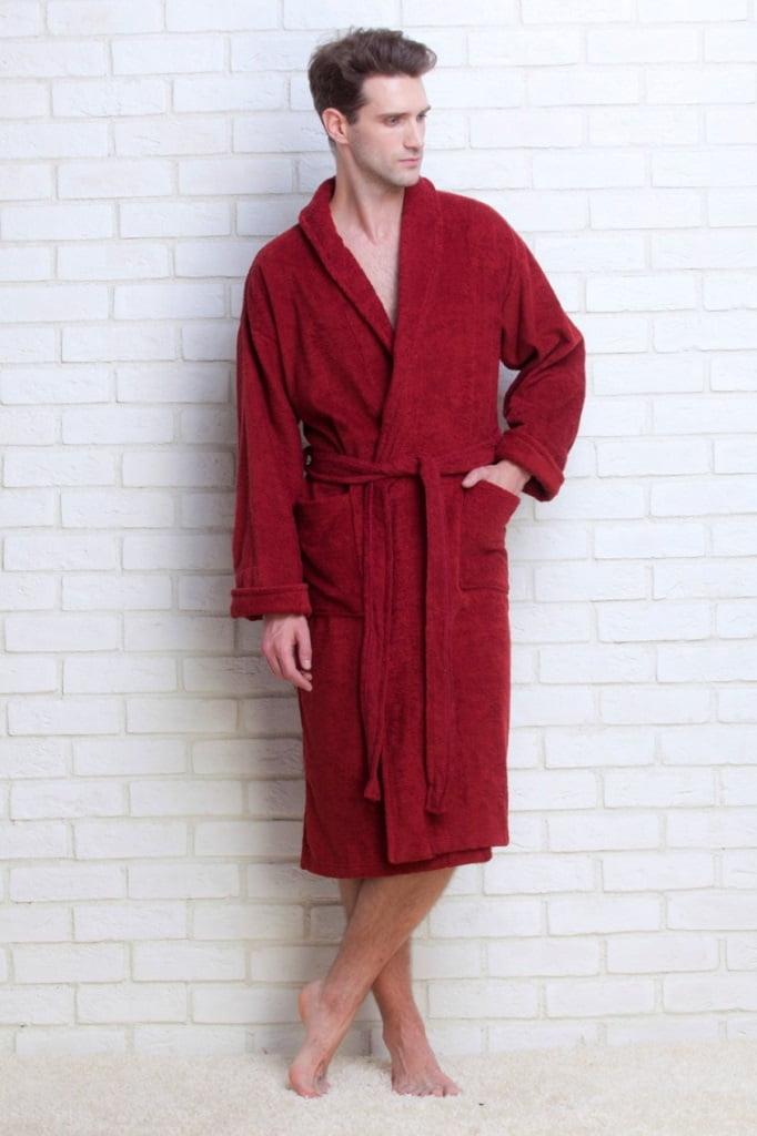 Банный мужской халат из махровой ткани бордового цвета Evateks 363 бордовый