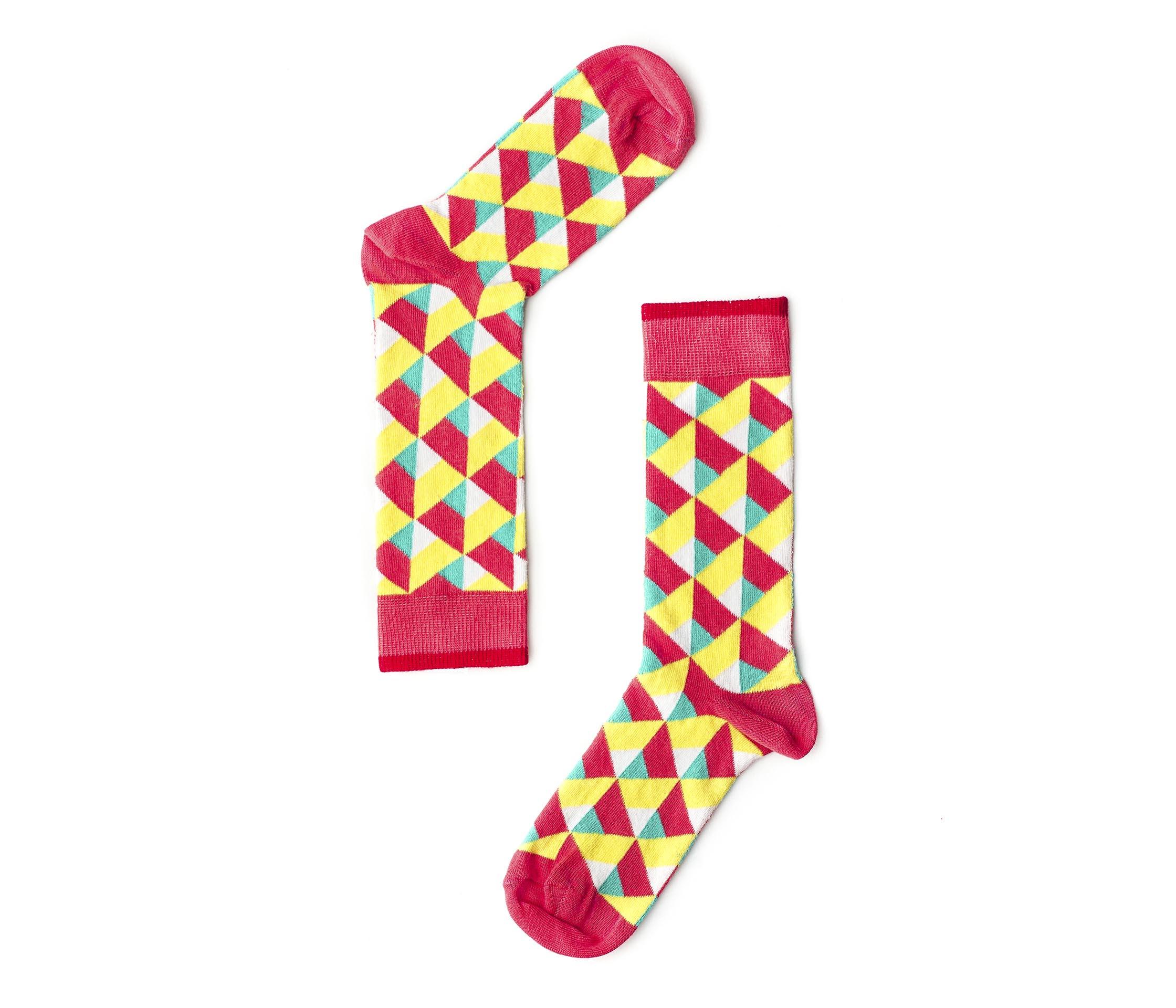 """Веселые разноцветные носки унисекс """"Illusion pink """" Sammy Icon"""