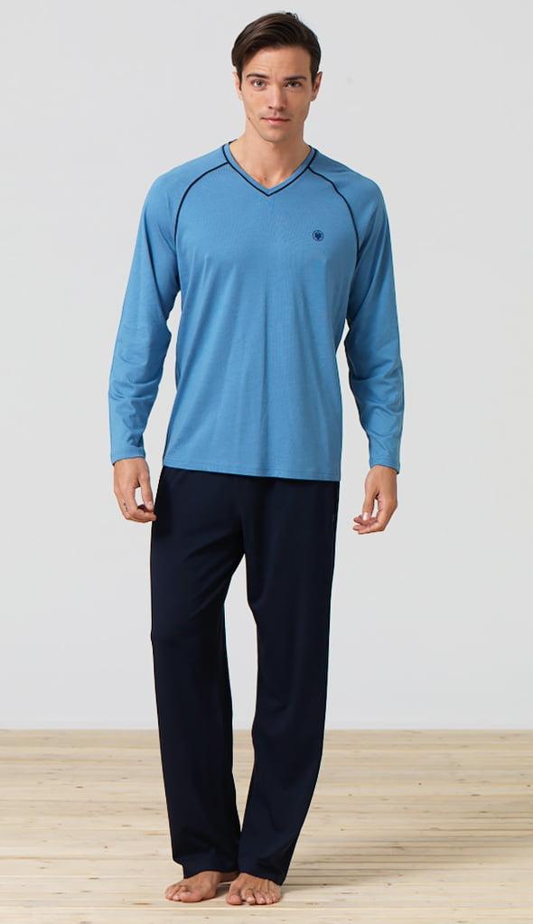 Стильный мужской комплект для дома и отдыха синего цвета Blackspade Home b7281 Blue