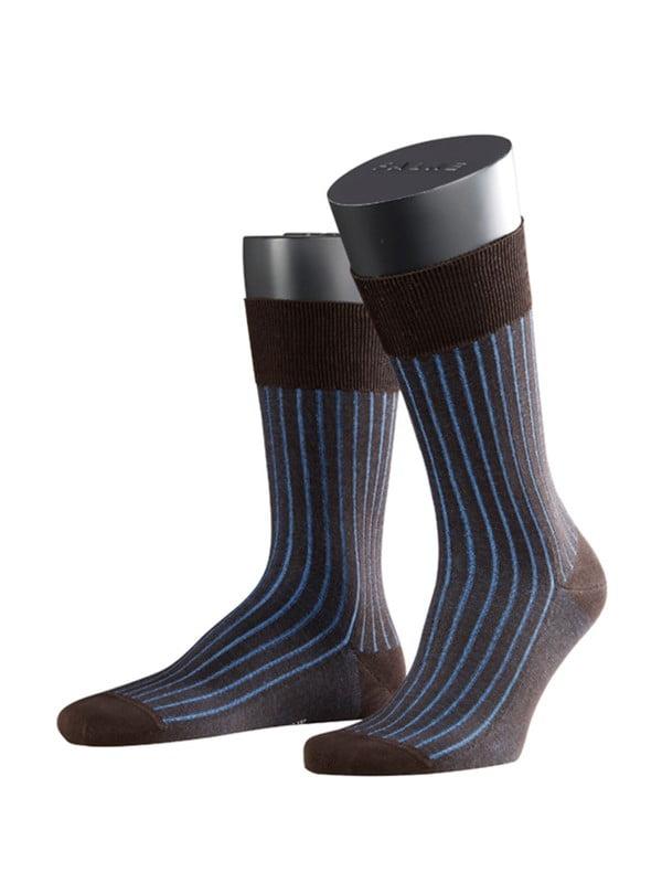 Носки из хлопка с шелковистым блеском с элементами ручной работы с ребристым узором темно-коричневого цвета Falke 14648 Shadow (муж