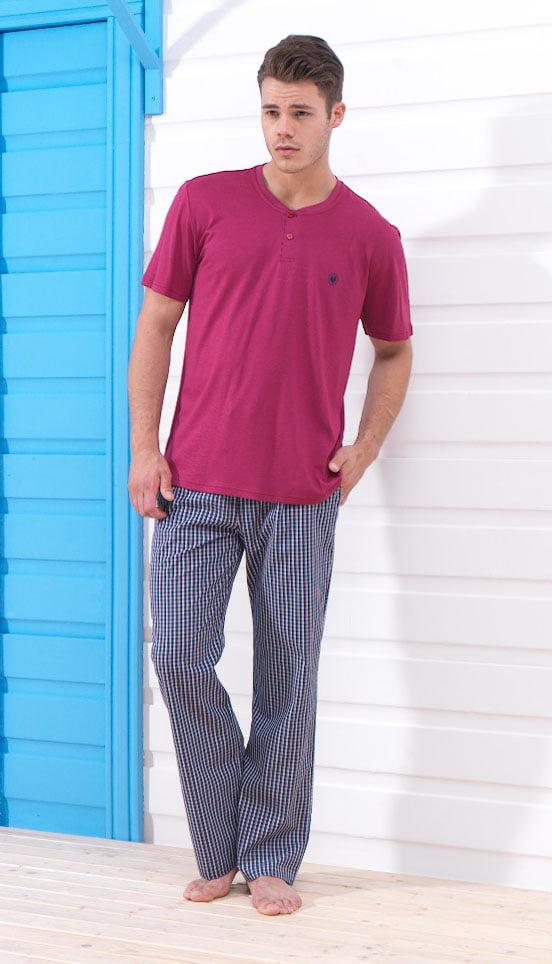 Удобный домашний комплект одежды для мужчин красного цвета (брюки, футболка) BlackSpade Home b7237 красный