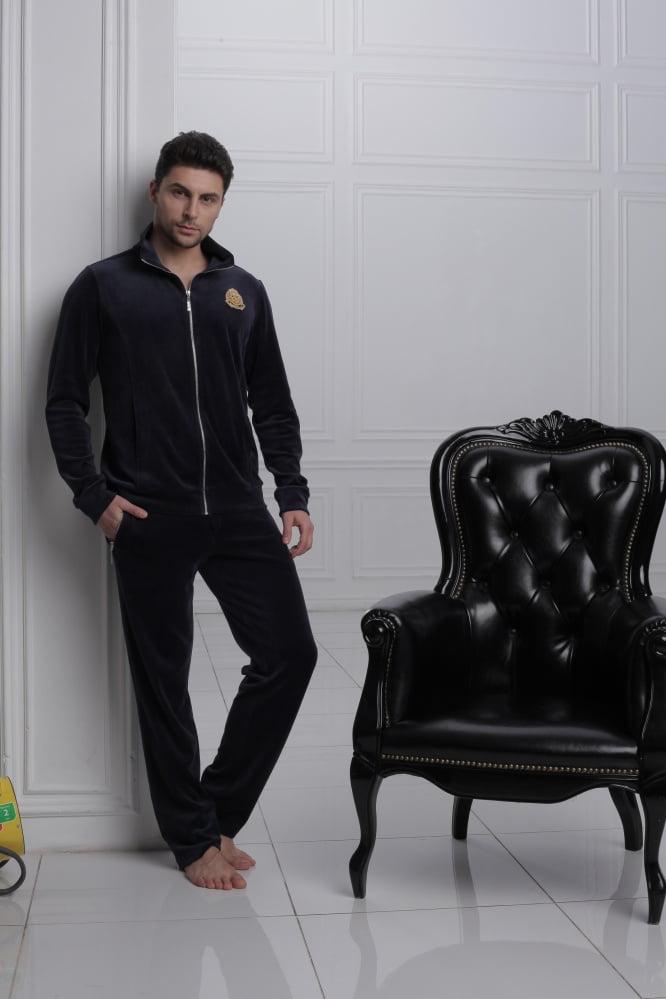 Стильный домашний мужской костюм из хлопка темно-синего цвета Laete 20243