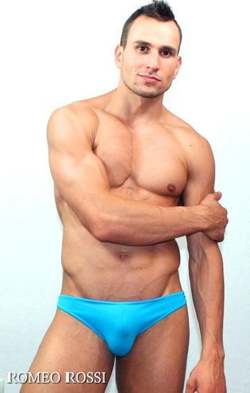 Эластичные голубые мужские трусы слипы Romeo Rossi Slips R2005-10