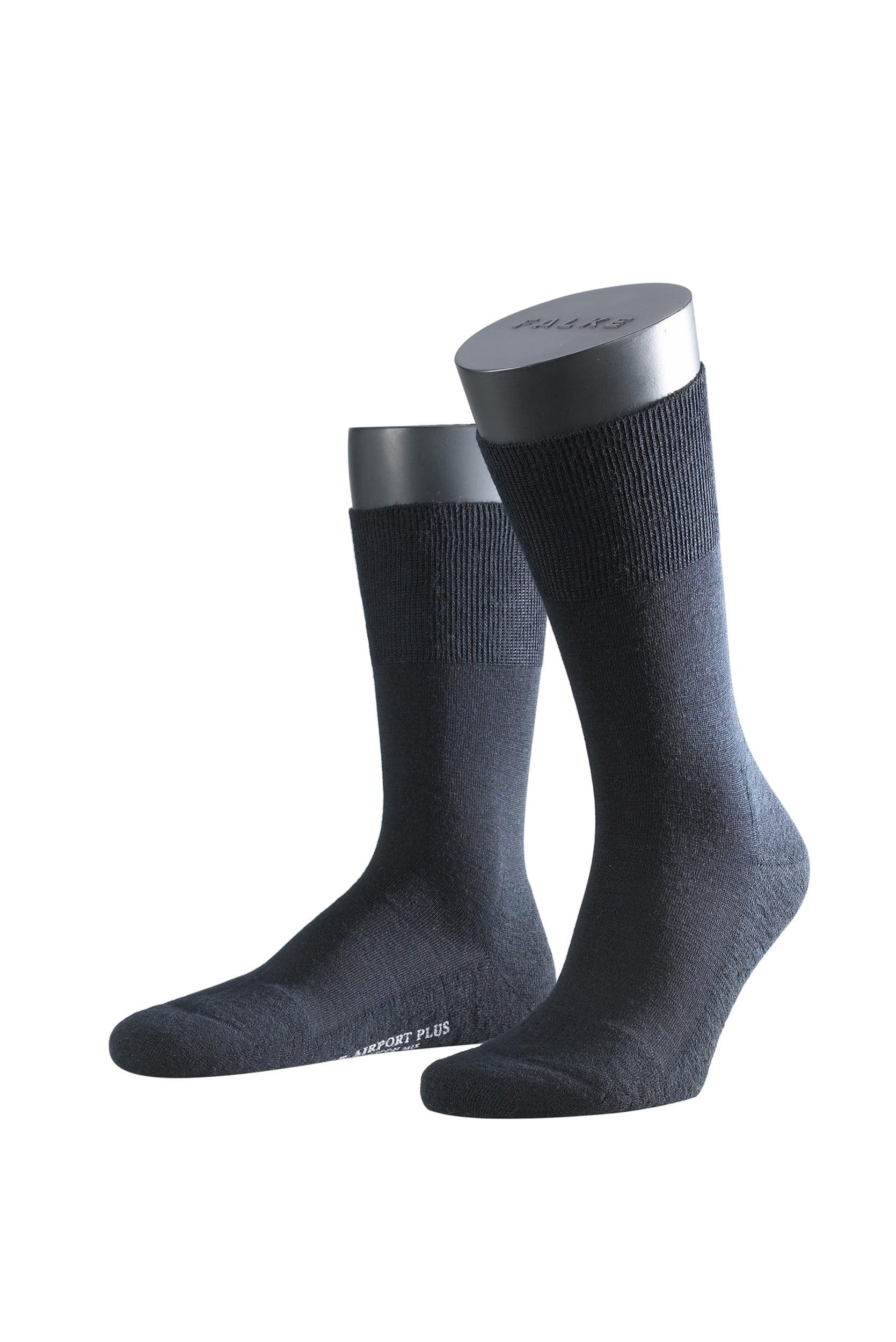 Мужские носки из шерсти мериноса с добавлением хлопка с элементами ручной работы черного цвета Falke 14403 Airport Plus (муж.) Черный