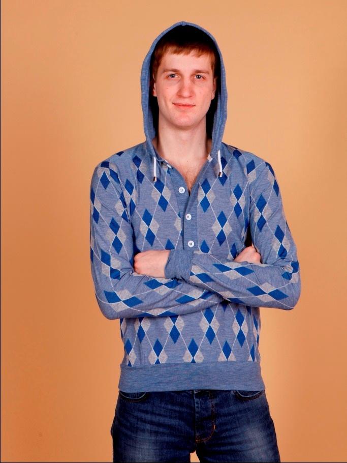 Джемпер мужской с капюшоном BGS синий в клеточку