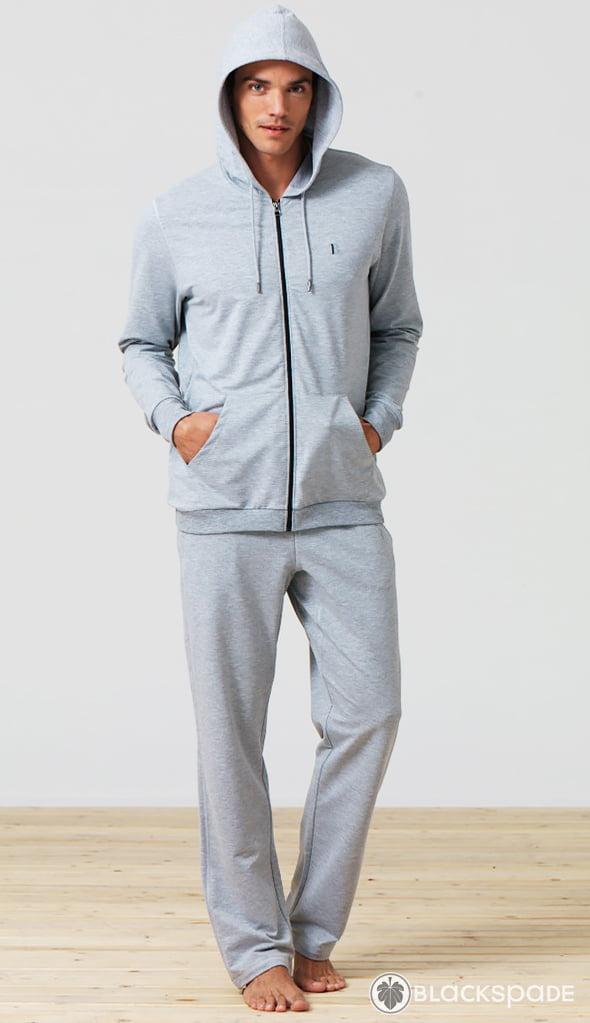 Теплая и мягкая мужская толстовка на молнии серого цвета Blackspade Home b7305 Grey Melange