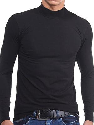 Мужская черная футболка с длинными рукавами и воротником стойкой Doreanse Long Sleeve 2930c01