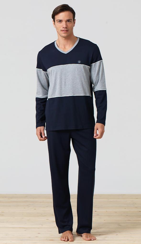 Удобный мужской комплект для дома синего цвета Blackspade Home b7279 Navy