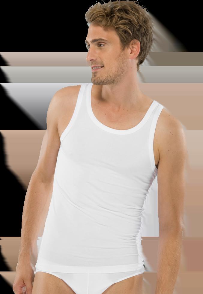 Удобная и стильная мужская майка из хлопка белого цвета SCHIESSER 205428шис Белый