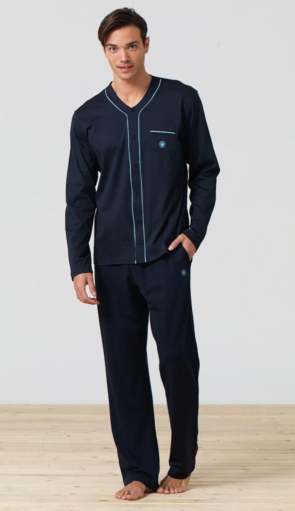 Мягкая мужская пижама на пуговицах синего цвета Blackspade Home b7296 Navy